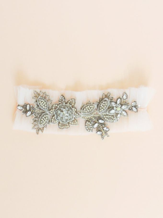 Beaded Tulle Wedding Garter