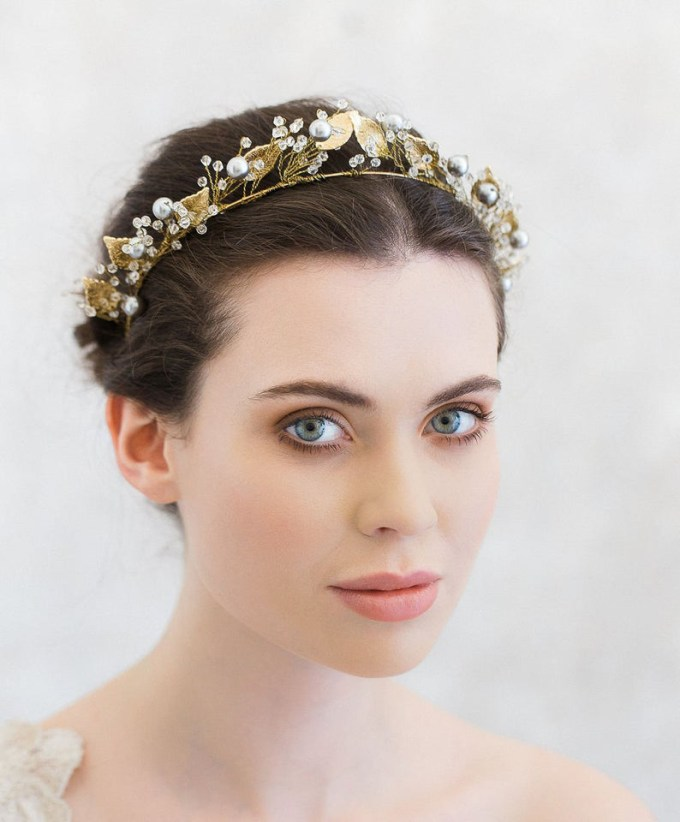 Antique Gilded Leaf Wedding Crown