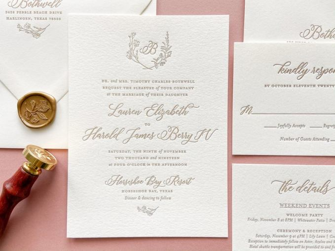 Wreath Letterpress Wedding Invitations