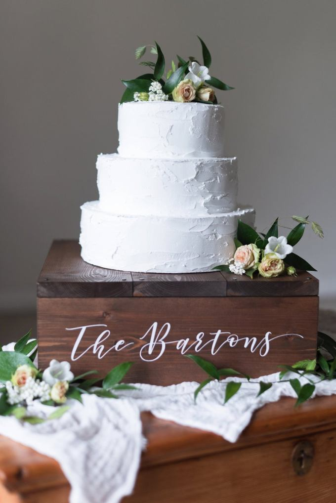 Personalised Wooden Wedding Cake Box Stand