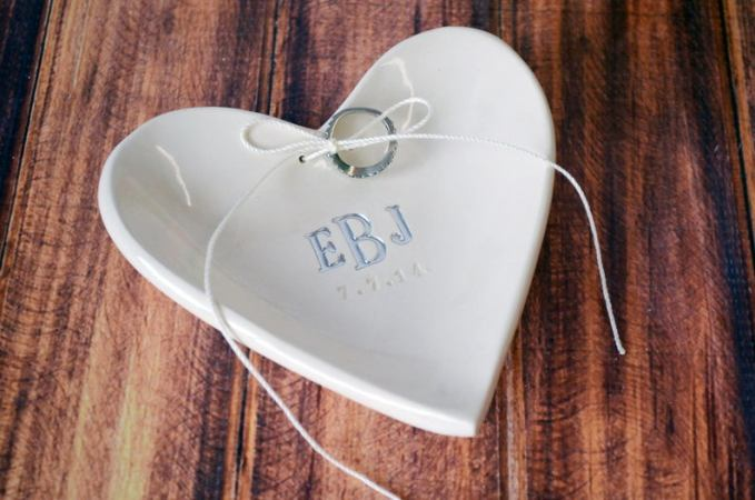 Personalized Ring Bearer Heart Bowl with Silver Monogram
