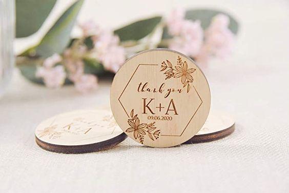 Wooden Wedding Magnets