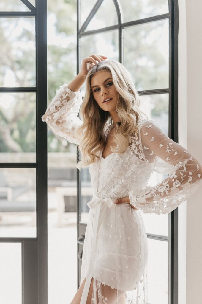 Floral Lace Bridal Robe
