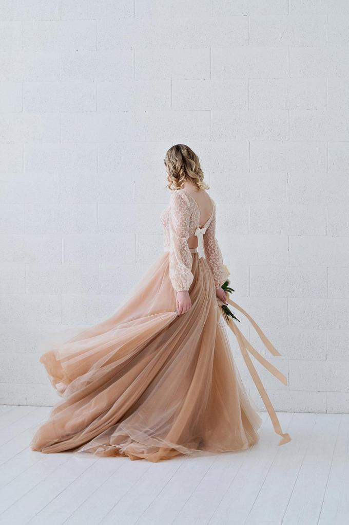 Poet Sleeve Gown with Tulle Skirt