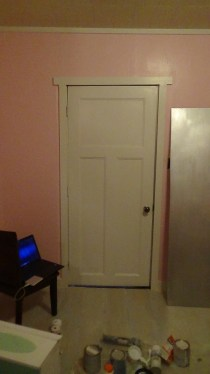 The silver slab to the right is the inside side of my closet door - the other side is a glossy white.