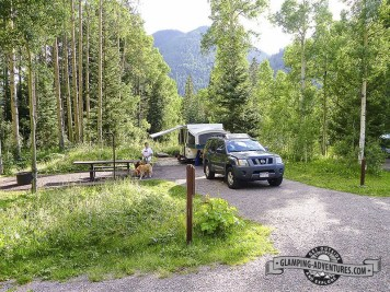 Lots of room to spread out in Matterhorn Campground, Telluride CO