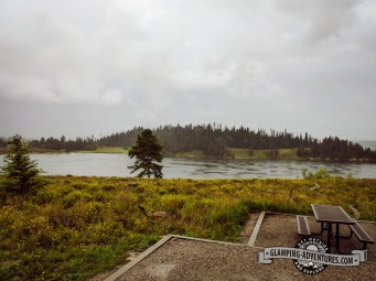 Rainy view from our site. Steamboat Lake, CO.