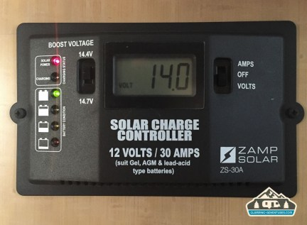 Zamp solar charge controller, inside the Airstream.