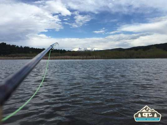 View from tube boat: Pikes Peak. Manitou Recreational Area, CO.