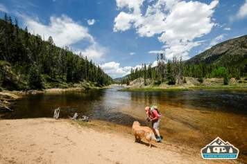 Trying to fly fish with Daisy. Near Arapaho Bay, CO.