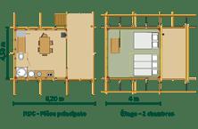 Plan de la Cahutte au glamping Huttopia à Senonches en Centre Val de Loire