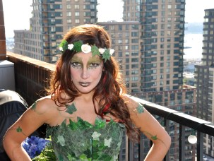 For New York Comic Con 2012 and 2013 I dressed up as Poison Ivy. I made the costume (I bought a plain corset and spent a many days hot-gluing fake Ivy leaves from Michael's Arts & Crafts store and painted a few and put glitter at the top) and did my makeup as well! For this look I used green gemstones from Makeup Forever under my eyes, and used different shades of greens and yellows from my Sephora Collection Color Daze Blockbuster Palette! The green on my lips was a gloss from the Sephora palette as well.