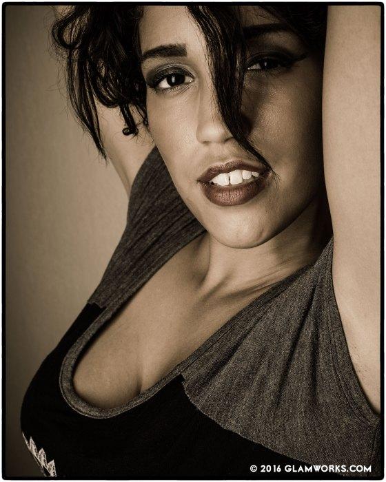 """""""Jasmine Clark Headshot"""" with model Jasmine Clark. © 2016 by Jeff Falls for Glamworks.com."""