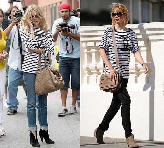 sienna miller claudia schiffer chanel striped tee