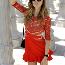 Three Floor Shades of Red Lace Dress