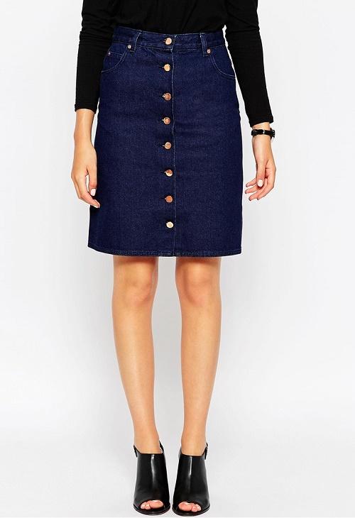 ASOS Denim Polly A-line Button Through Midi Skirt in Indigo