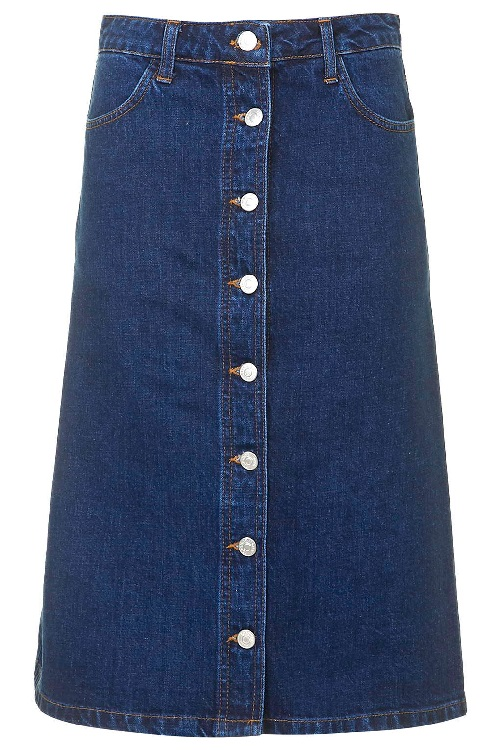 topshop MOTO Denim Button Front Midi Skirt