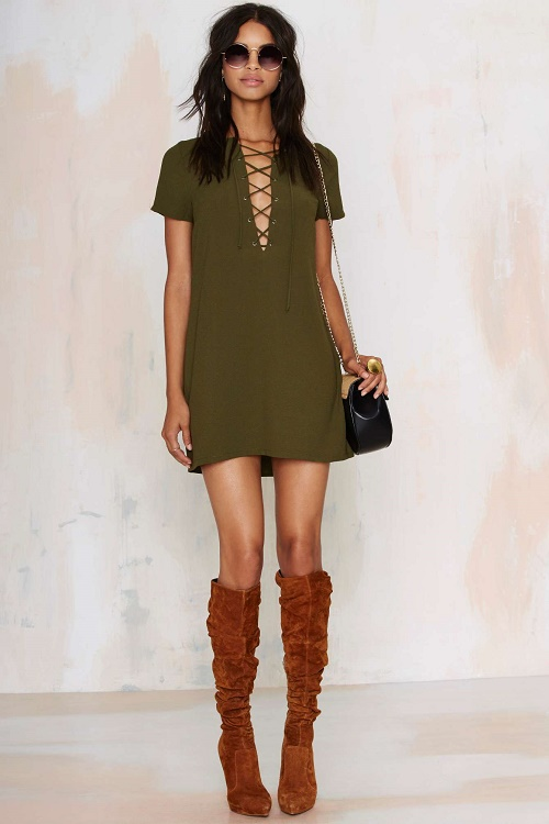 nastygal runnin with the devil lace up dress