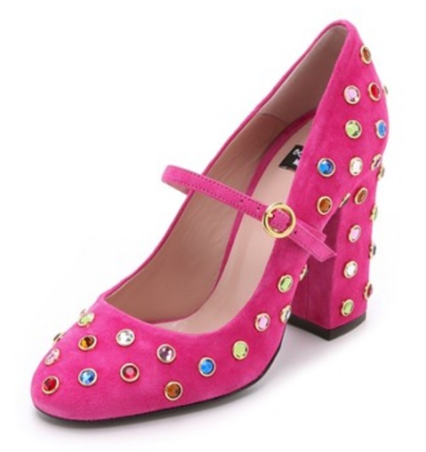 Boutique Moschino Embellished Mary Jane Pumps Pink