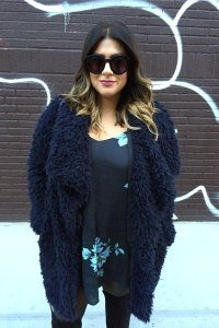 Zara Long Faux Fur Coat Navy Blue