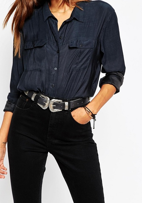 Asos Leather Double Buckle Western Waist and Hip Belt