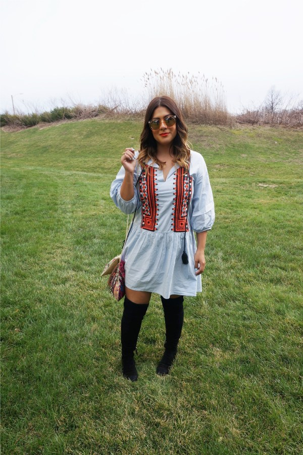 hm embroidered dress
