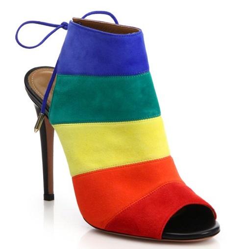 Aquazzura Rainbow Suede Peep-Toe Booties