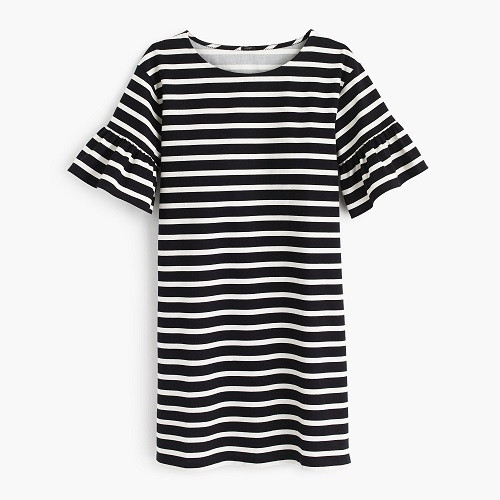 J Crew Ruffled bell-sleeve shift dress in stripe