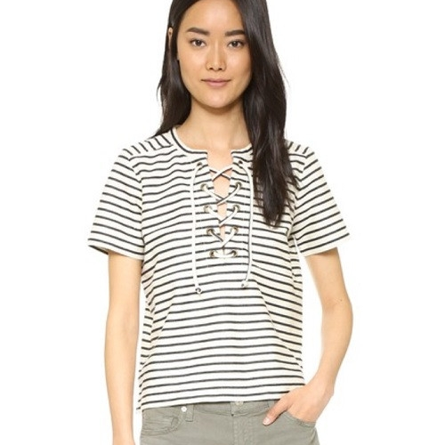 Madewell Striped Lace Up Top