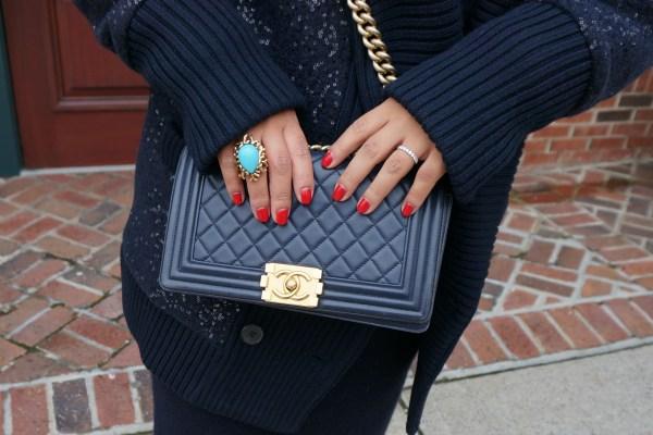 Chanel Boy Bag Navy Gold Hardware