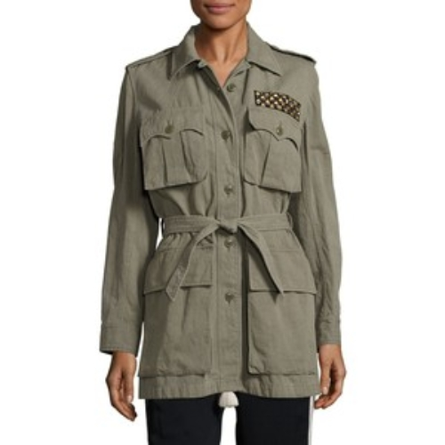 FIGUE Embellished Cotton & Linen Safari Jacket