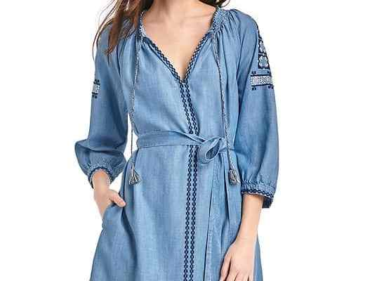 Gap Tencel Embroidery Tassel Tie Belt Dress