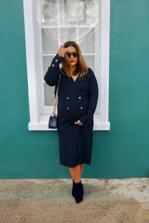 Zara Knit Military Coat With Gold Buttons