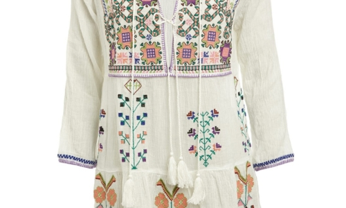 Millie Embroidered Boho Short Dress