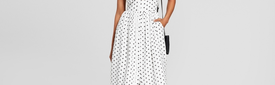 Polka Dot Sleeveless Button Down Dress