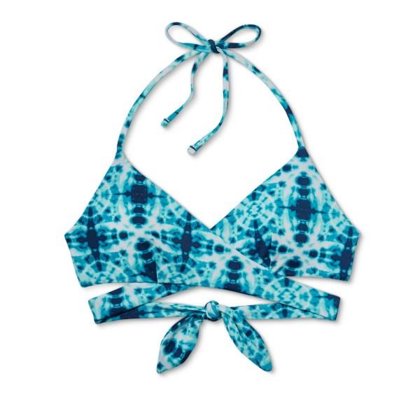 Tori Praver Seafoam Women's Tie Dye Wrap Halter Bikini Top - Blue Horizon Tie Dye