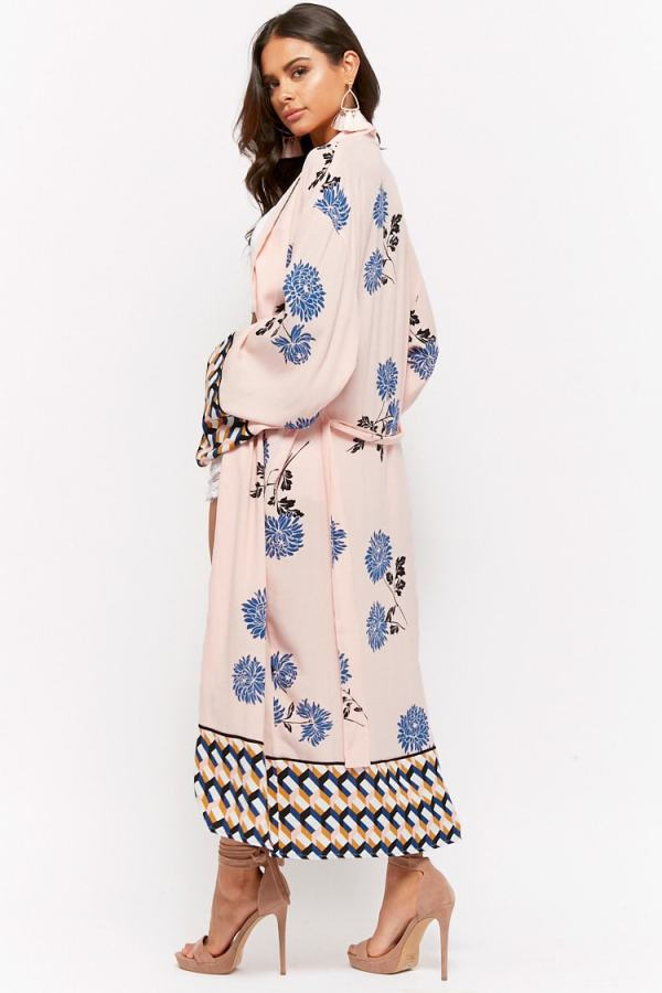 Forever 21 Geo Trim Floral Duster