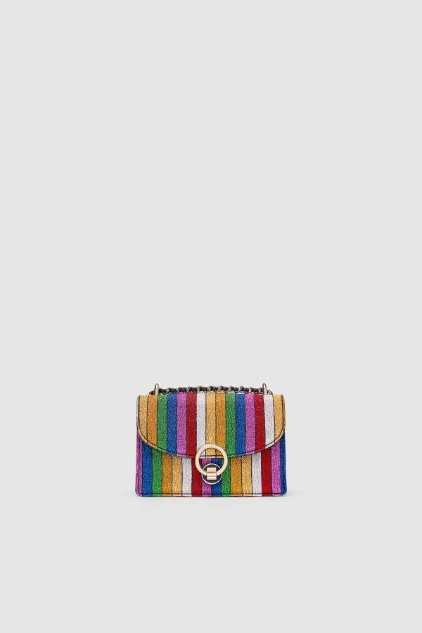 Zara Striped Multicolor Mini Crossbody Bag