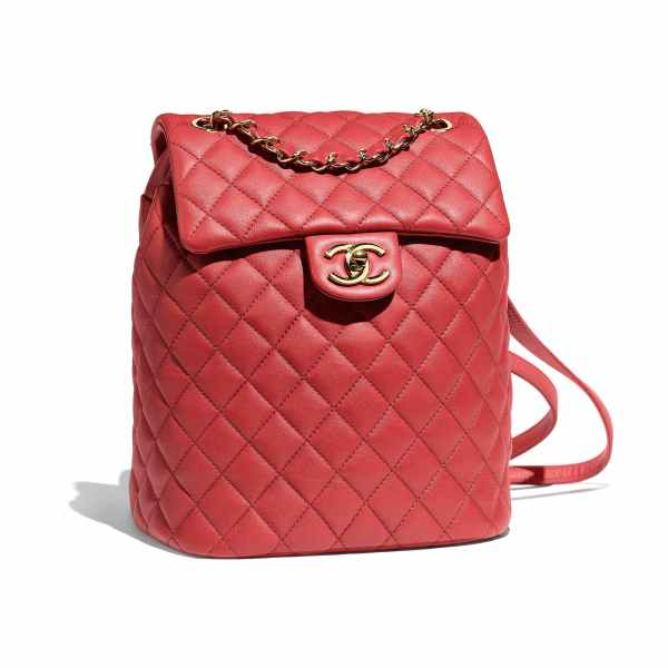 Chanel Red Calfskin Gold Tone Metal Backpack