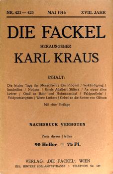 """Karl Kraus - Prolog-Umschlagseite der """"Fackel"""" mit dem Anfang von """"Die letzten Tage der Menschheit"""""""