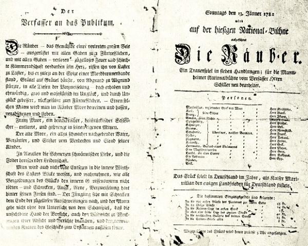 Die Räuber - Theater-Zettel der Uraufführung 1782 - Glarean Magazin
