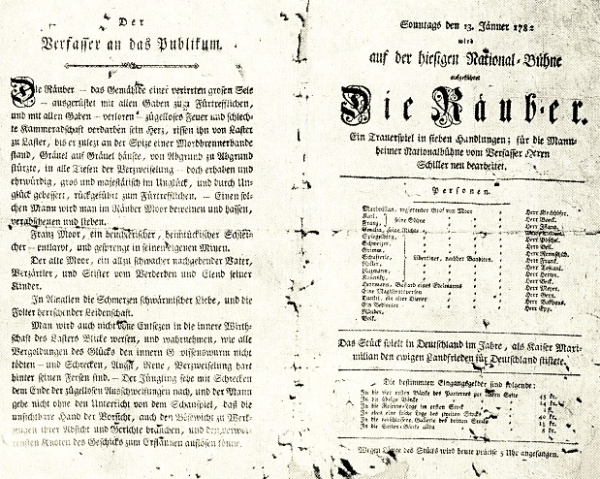 """Theater-Zettel der Uraufführung 1782 mit einem Vorwort des """"Verfassers an das Publikum"""""""