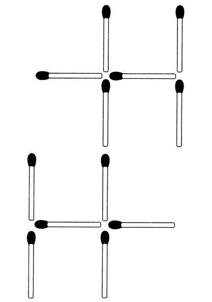 Streichholzrätsel Denksport-Aufgabe mit Lösung Matchstick Puzzle Nummer 08