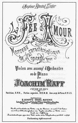 """Titel-Blatt der """"Liebesfee"""" (Joachim Raff: Werke für Violine und Orchester)"""
