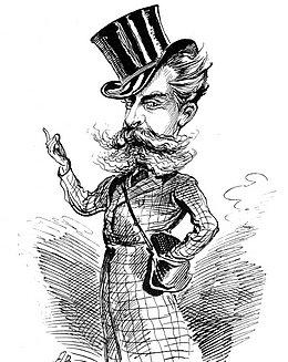 Dirigent Carl Rosa beim Geldverdienen (Zeitgenössische Karikatur)
