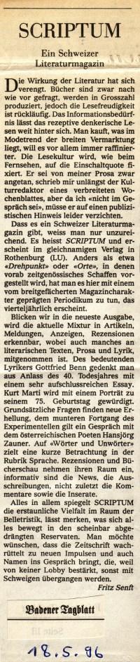 SCRIPTUM-Rezension (Badener Tagblatt 1996)