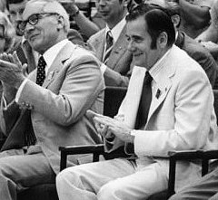 Allgewaltiger Sportschef neben Staatsoberhaupt Honecker: Manfred Ewald (rechts)