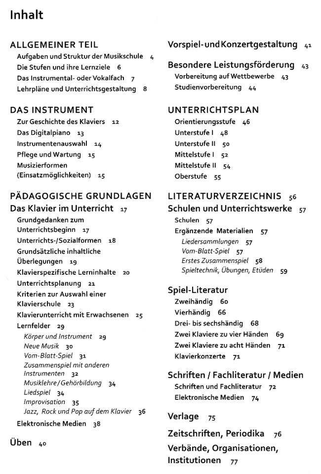 Lehrplan Klavier- Bosse Verlag - Inhaltsverzeichnis