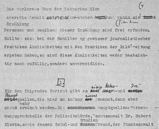 Der Schriftsteller als moralische Instanz: Manuskript-Auszug der «Verlorenen Ehre der Katharina Blum»