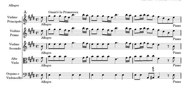 Antonio Vivaldi - Die vier Jahreszeiten - Frühling - La Primavera - Anfangstakte - Glarean Magazin